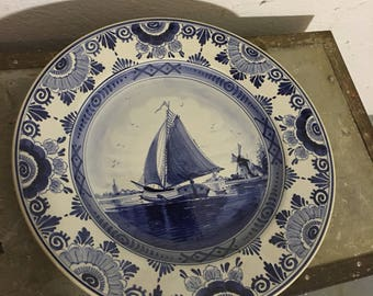 Plate Delft porcelain 60 he years wall plate ceramic delfter 60's