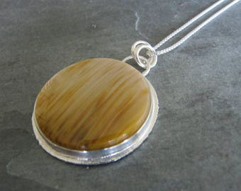 Pendant of Gorgeous Petrified Palm wood in Sterling silver