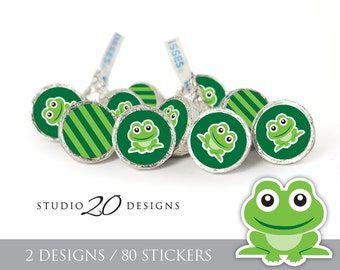 Instant Download Frog Hershey Kiss Stickers, Green Frog Baby Shower Kiss Labels, Printable Frog Chocolate Candy Sticker Sheets #24B