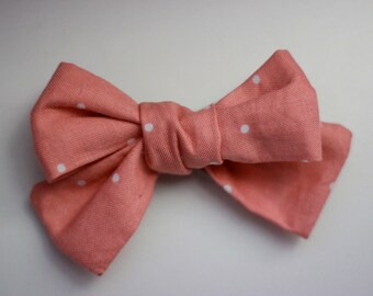 Salmon And White Polka Dot Hand Tied Fabric Bow
