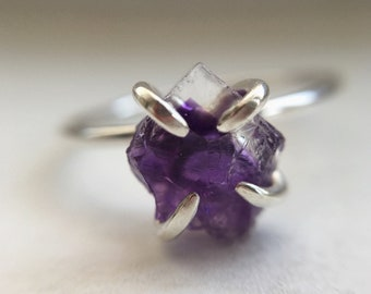 Raw Amethyst Mineral Ring (Polished Silver) - raw gemstone ring - sterling silver - ooak - February birthstone - birthstone jewellery