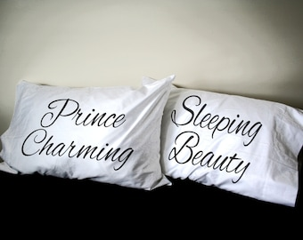 Sleeping Beauty Prince Charming His and Her Pillowcase set, Couples Gift