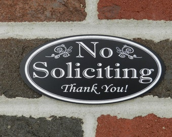 "No Soliciting Sign, Oval ""No Soliciting Thank You!"" - No Solicitation Sign"