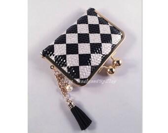Checks Black & White Faux Leather Credit Card Holder / Mini Wallet S005