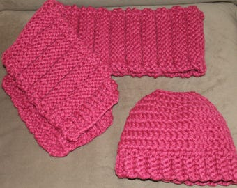 Crochet Pony Tail Hat and Knitted Scarf