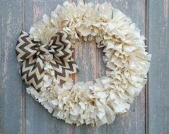"20"" Rag Wreath (Natural) - Farmhouse Wreath - Shabby Chic Wreath - Neutral Wreath - Year Round Wreath - Summer Wreath - Front Door Wreath"