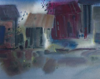 Barns by the Pond original watercolor painting