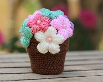 Amigurumi Flower Tutorial : Crocheted flower pot tutorial amigurumi flower pot pattern