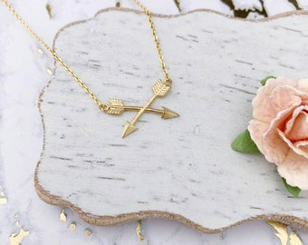 Gold Double Arrows Dainty Necklace