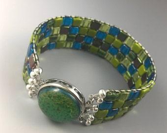 Mosaic Cuff Bracelet -- Lampwork Cabochon Clasp -- Ocean Reef -- Size Large