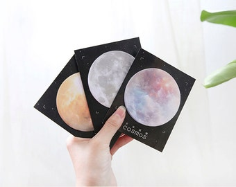Full Moon Sticky Notes Memo Pad, Text Page Markers, Planner Sticky Notes Moon Stationery