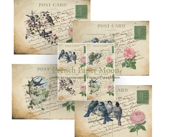 Digital Images, Vintage Bird Digital Paper, Spring Bird, Printable Postcard, Digital Collage Sheet, Instant Download