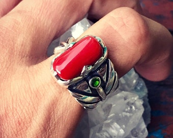 Red Coral from Sardinia Ring. Silver 950. Tourmaline. 10 US Size (n.12)