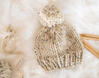 Knit Baby Hat / Child Chunky Beanie / Knit Baby Hat Pom Pom / Toddler Knit Baby Hat / Knit Child Hat