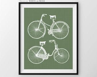 Bicycle Art Print, His and Hers decor, Bike art, bike wall decor, bright modern wall art, bicycle art print