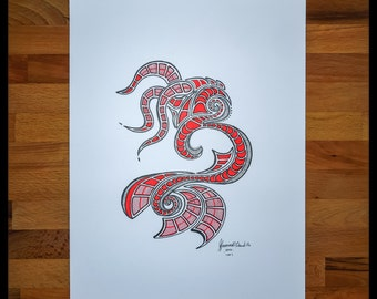 Original Abstract Pen and Ink Drawing on Paper // The Red Serpent // House Warming Gift // Ready to Frame Art