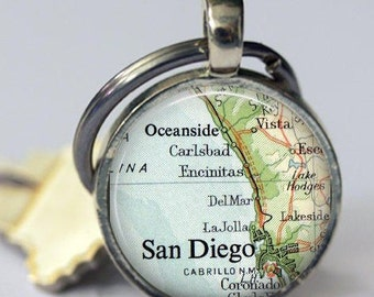 San Diego Personalize Keychain, Del Mar, La Jolla, Mothers Keychain Gift for Women, Keychains for Men, Man Gift, Oceanside Military Keychain