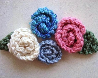 KNITTING PATTERN - Rolled Rose, and Leaf