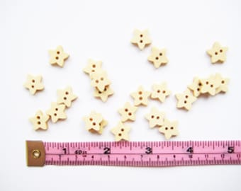25 pcs of 13 mm Natural Wood Star Shape Button - simple wooden scrapbooking mini tiny small sew knit crochet craft diy rag doll stuff toy