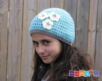 Crochet Pattern for Girl, Hat for Girl, Beanie with flower, Photo Tutorial, PDF Instant Download, Beginner Crochet, Flower Motif, Kids Hat