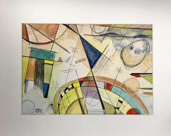 Modern original art print Bauhaus mid century style