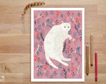 Cat Art Print, Cat Lover Gift, White Cat Print, whimsical cat art, Cat Poster, Cat Illustration, Cat Wall Art, Cat Drawing, Fat cat art,