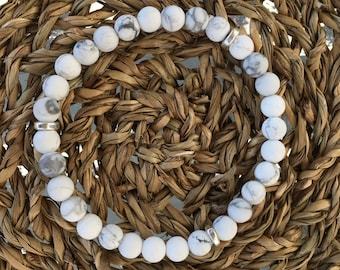Matte White Howlite Stone Bracelet