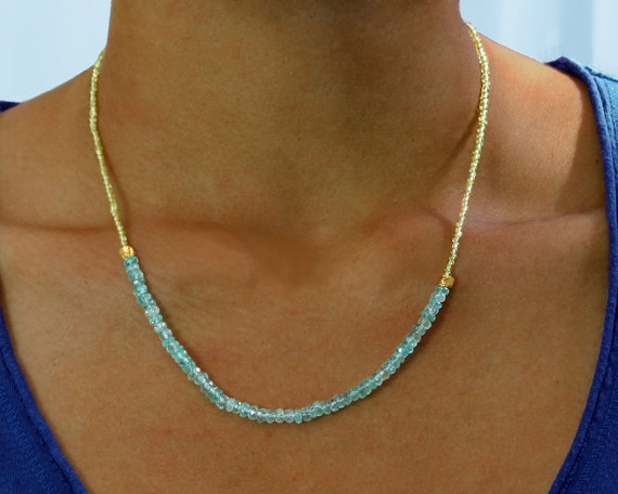 Apatite and Peridot Necklace. Beaded Aqua Necklace. August & December Birthstones. Gemstone Jewelry.