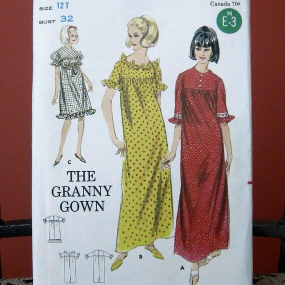 Vintage Granny Gown Uncut Pattern size 12T