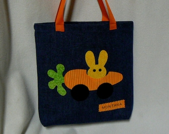 Personalized Gift|Bunny Tote Bag|Personalize Kids Tote Bag|Christmas Gift Bag|Toddler Tote Bag|Preschool bag|Kid Gift Bag|Child's Book Bag