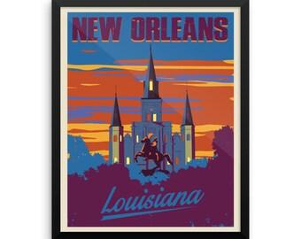 New Orleans Louisiana   Vintage Travel Poster   Framed