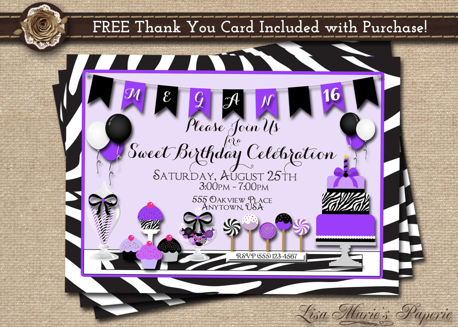 Sweet 16 invitation birthday invitation zebra birthday zoom filmwisefo Image collections