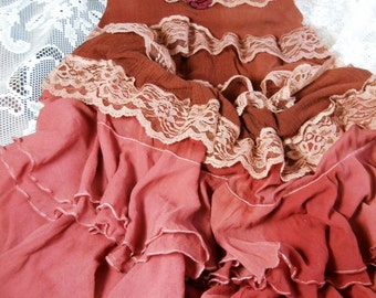 Reserved for Darby Deposit for custom Rust boho  dress pink ruffles  lace rose prairie bohemian medium  by vintage opulence on Etsy