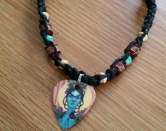 Hemp Necklace / Guitar Pick Necklace / Black Hemp Necklace / Music Necklace / Guitar Pick Jewelry / Beaded Hemp Necklace