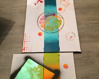 contemporary modern abstract triptych painting