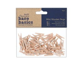 Mini Wooden Pegs - 50 Natural Wood Craft Pegs - Docrafts Bare Basics - Christmas Crafts - Craft Pegs - Wedding Decoration - Gift Tags