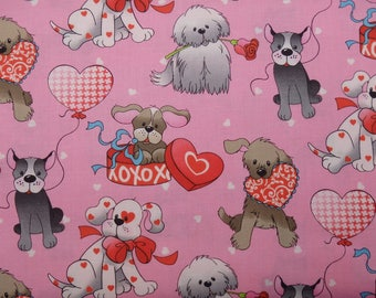 Valentine Dog Fabric, Valentines Dogs, Dog Quilting Cotton, Pink Dog Print, By the Half Yard