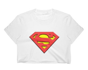 Women's Superman Crop Top, Superwpman Crop Top Shirt, Geek Girls Crop Top Shirt