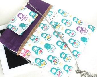ipad bag, Back to School ipad bag, ipad case, ipad bag with DETACHABLE straps, Purple iPad Cover