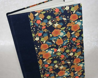 Handbound Lined Journal - mango blossoms with metallic gold on indigo, 6x8.5, SALE