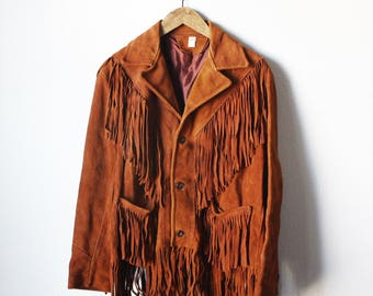 VINTAGE fringe leather suede brown jacket country western hippie boho gypsy unisex