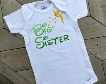 Big Sister Tinkerbell bodysuit .. Disney inspired bodysuit .. infant bodysuit .. children's clothing .. birth announcement