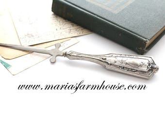 LETTER OPENER, Mid Century, Ornate, Silver Plated Handle, Letter Opener, Gifts for Him, Collectible