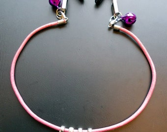 Adjustable - SLUT - nipple clamps with Pink leather, silver letters & Tibetan silver hearts or bells.