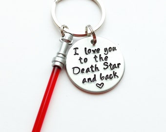 "I Love You to the Death Star and Back Hand Stamped 1"" Aluminum Keychain, Star Wars Keychain Force Lightsaber Keychain Husband valentine's"