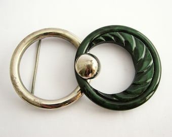 Antique belt buckle, green and silver, 1930s vintage buckle with hook closure, unused!