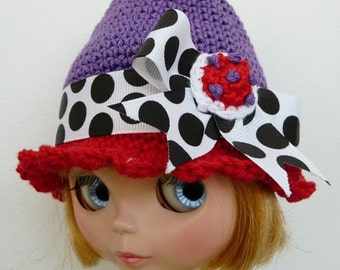 SALE Blythe Hat Purple and Red