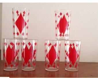 Vintage Drinking Glasses/Red Diamond Pattern