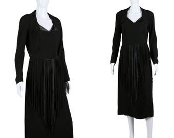40s Fringe Dress 1940s Rayon Dress Black Cocktail Dress Long Fringe Skirt Rayon Crepe Satin
