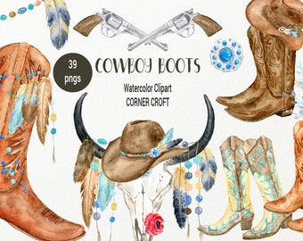 Watercolor Clipart Cowboy Boots, Skull, Pistol, Riffle, Brown and Tan Boots, Cowboy Hats, Boho Clipart for instant download